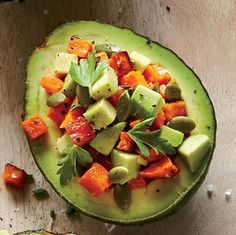 Avocado and Roasted Sweet Potato Salad Cups http://www.prevention.com/food/avocado-recipes-and-nutrition-facts/avocado-prosciutto-and-seasonal-vegetable-pasta