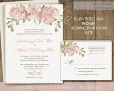 Rustic Wedding Invitations Suite - Blush Pink Watercolor Roses and Peonies Romantic Country Wedding Stationary Set Digital Printable DIY by NotedOccasions