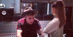 Ariana Grande y Justin Bieber, juntos en el estudio de grabación