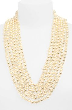 ST. JOHN COLLECTION Multi Strand Glass Pearl Necklace