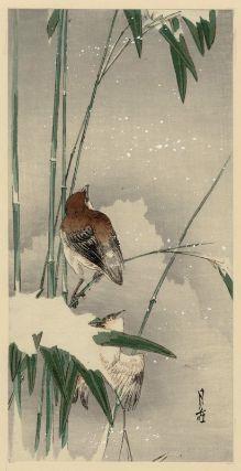 Yoshimoto Gessô, Sparrows and Bamboo in Snow, Japanese, Meiji era–Taishô era, 20th century.