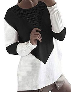 Women s Pullover Sweaters - shermie Women Long Sleeve Crew Neck Pullovers  Stitching Color Loose Knitted Sweaters at Women s Clothing store  0d4f89ad2