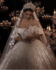 Almost every bride want to feel like a queen on her wedding day. Crown is pretty much the hottest trend going in bridal hair accessories weddings. These worthy crowns Wedding will make a stunning a… Dream Wedding Dresses, Bridal Dresses, Couture Wedding Gowns, Designer Wedding Gowns, Ball Gown Dresses, Dresses Dresses, Wedding Goals, Wedding Ideas, Princess Wedding