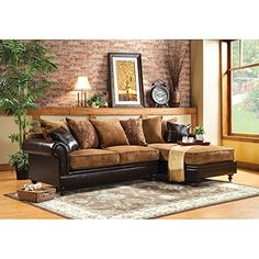 Furniture of America Crobrige 2Piece Fabric and Leatherette Sectional Sofa  Tan  Espresso * Click image for more details.
