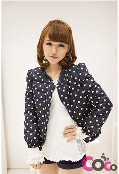 http://www.coco-fashion.com/Dark-Blue-Polka-Dot-Short-Line-Asian-Fashion-Girly-Puffer-Jacket-p17960.html