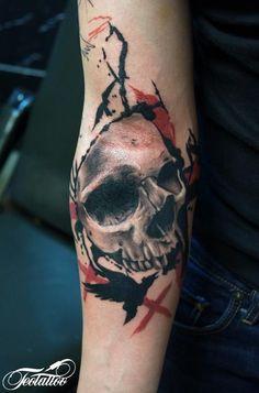 033f520a2fc Skull tattoo trash polka style by Teo Artist Kiss Tattoos
