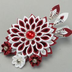 Handmade red and white designer hair clip with rep ribbon kanzashi flower