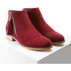 Forever21 Faux Suede Chukka Boots ($28) ❤ liked on Polyvore featuring shoes, boots, ankle boots, wine, wine boots, platform ankle boots, chukka boots, mid heel boots and chukka style boots