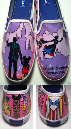 Disneyland and Mary Poppins Shoes from KissaThisArt on Etsy. Saved to Shoes. Shop more products from KissaThisArt on Etsy on Wanelo. Custom Vans Shoes, Custom Painted Shoes, Hand Painted Shoes, Painted Toms, Disney Toms, Disney Outfits, Disneyland Outfits, Disney Fashion, Mary Poppins