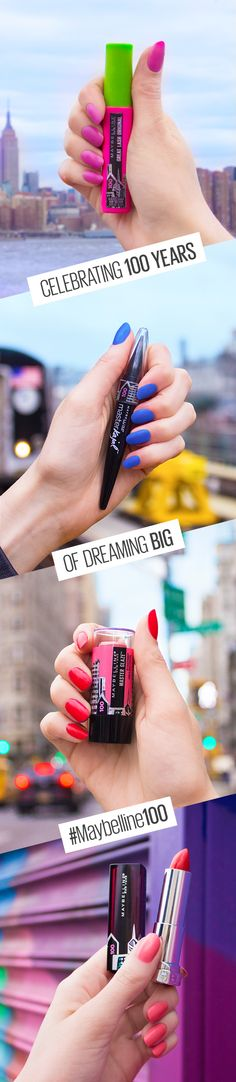 Maybelline girls have been beauty hacking, breaking rules and making it work for 100 years and counting! Here's to 100 more years of dreaming big in NYC with absolutely no maybes about it. Get your hands on our limited edition Master Glaze blush stick, Great Lash mascara, Color Sensational lipstick, Master Kajal eyeliner and more.
