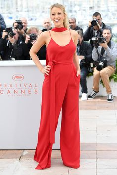 11 May Blake Lively stepped out in a bright red jumpsuit by Juan Carlos Obando for her first official outing of the festival, the photo call for Café Society.   - HarpersBAZAAR.co.uk