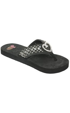 Justin® Trinity™ Ladies Black w/ Trinity Heart Concho Jeweled Flip-Flop by M® | Cavender's Boot City