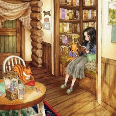 #illustration #drawing #sketch #girl #girlish #books #interior #puppy