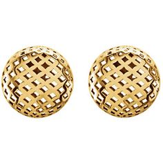 14k yellow pierced button earring, 11.9mm x 11.9mm. Find them at a jeweler near you: www.stuller.com/locateajeweler