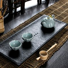 Rough surface WuJin stone minimalist rectangular Japanese style tea tray | Art Pottery Mall | 8 Days of Christmas | Pin to win at http://wp.me/p49CzR-4