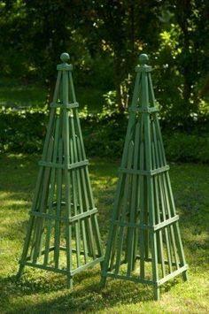 Garden Obelisk art sculpture wooden stained hardwood by CurrentAdz, $149