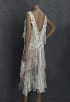 1920s Clothing at Vintage Textile: #2791 Lace flapper dress