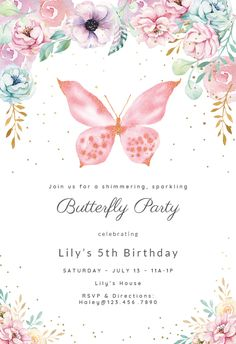 Pink glitter butterfly - Birthday Invitation  #invitations #printable #diy #template #birthday #party