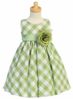 Sage green gingham flower girls dress