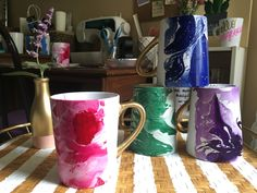 A personal favorite from my Etsy shop https://www.etsy.com/listing/469928010/set-of-4-jewel-tone-marble-mugs