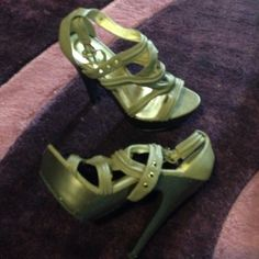 Army green platform pumps Broken in but barely worn. Size 6 Shoes Platforms