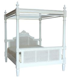 Charlotte Four Poster Bed has an antique white paint finish.The bed is hand crafted with intricate carved detail on the headboard. With finely turned tapered posts which are handcarved.The head and footboard are rattan and this gives the bed a distinctively French Shabby Chic feel. It is provided with main frame and slats to support the mattress. It arrives partially assembled to allow for easy transportation in approximately 4 packages.