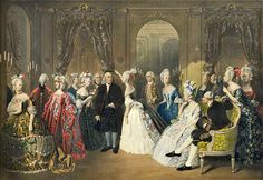 Benjamin Franklin's Reception in the Court of France, colored engraving…