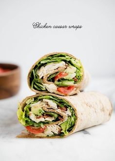 Chicken Caesar Wraps …a quick, delicious lunch or appetizer that is light on calories! These Chicken Caesar Wraps feature crispy bacon, juicy tomatoes, avocado, lettuce and Caesar dressing. #WW, #WeightWatchers, #FlatoutLove @Flatoutbread #ad