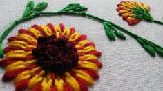 Hand Stitches Tutorial   Long and Short Stitch   Beautiful Flower   Hand...