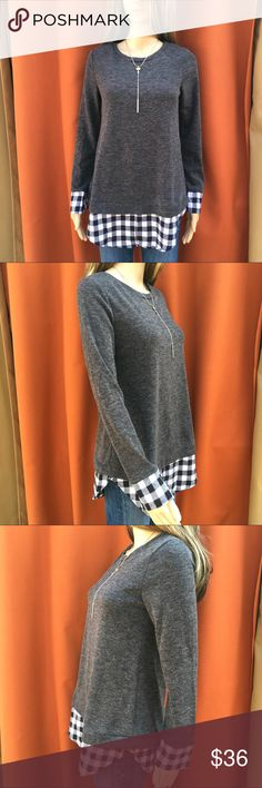 PLUSH LAYERED LOOK TUNIC High quality Layered look - Soft Heather grey tunic layered over the black & white checkerboard plaid accent at the hem and cuffs.🌺 boutique Tops