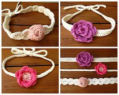 Crochet Flower Headband Pattern - Have fun with these beautiful flowers! Each headband ties in the back so it will fit any head size, from infant to adult.  Pattern includes 6 flower patterns, 1 small leaf pattern and 3 simple headband patterns. Crochet pattern includes clear instructions with step by step pictures. Great pattern to use up some scrap yarn!
