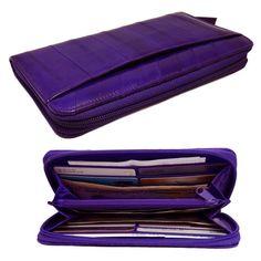 Genuine Eel Skin Leather Zippered Wallet Purse Purple