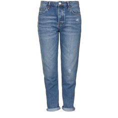 TopShop Moto Mid-Blue Hayden Boyfriend Jeans featuring polyvore women's fashion clothing jeans topshop jeans blue jeans low-rise boyfriend jeans topshop boyfriend jeans low jeans