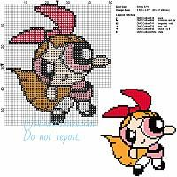 Lolly the Powerpuff girl free cartoon cross stitch pattern 50x57 6 colors