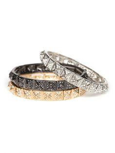 Pave Pyramid Bracelets