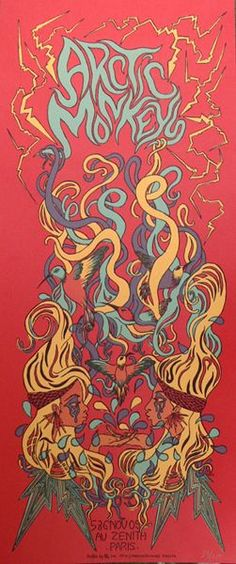 Arctic Monkeys  - Classic heavy metal rock music concert psychedelic poster ~ ☮️  レ o √ 乇 !!