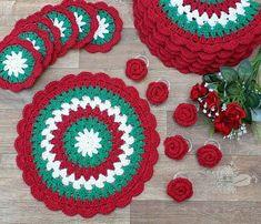 Christmas Tree Pattern, Christmas Crochet Patterns, Christmas Knitting, Crochet Placemats, Crochet Doilies, Crochet Stitches, Christmas Placemats, Christmas Crafts, Free Crochet