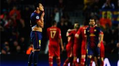 BARCELONA, SPAIN - MAY 01: Alexis Sanchez of Barcelona reacts as his side concede their third goal during the UEFA Champions League semi fin...