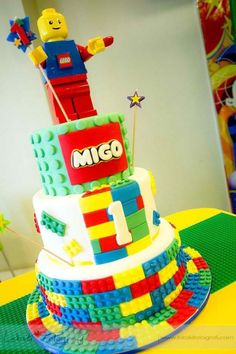lego birthday cake | Shining Mom: Lego City Theme Party {Migo's First Birthday} by snoopymeey