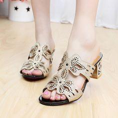 Rhinestone Cut-outs Women Sandals (Color: A Black) | To save upto 30% visit our website uniquefashionusa.com