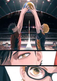 / Kuroo x Tsukishima (切々) / Seikeidoujin I just love the artwork Haikyuu Tsukishima, Kuroo Tetsurou, Haikyuu Funny, Nishinoya, Haikyuu Fanart, Haikyuu Ships, Kagehina, Kenma, Haikyuu Volleyball