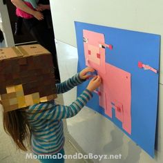 """Minecraft Birthday Party Ideas"""" Pig Party Game from Momma D and Da Boyz...Pin the tail on the pig."""