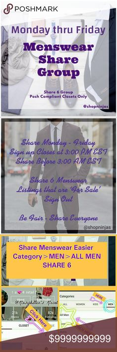 Welcome to our PCC Menswear Share Group Welcome to our PCC Menswear Share Group 👔Tag your name below if you'd like to be added to this tag list! 👔Official Share List is Posted Mon - Fri after 3:00 PM EST. Sign out & complete shares before 3:00 AM EST (Check time zone slide for your local time) 👔If you have Men's listings & are a POSHMARK COMPLIANT CLOSET we'd love to share w/you. Please share only 'For Sale' Listings from each players closet, if a player has less then 6 listings please…