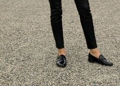Black Slim and loafers