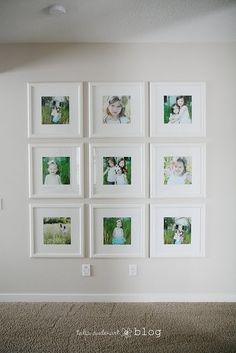 huge fan of white on white photo frames! photo wall - white ikea square frames