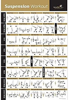 "Amazon.com : Laminated Suspension Exercise Poster - Strength Training Chart - Build Muscle, Tone & Tighten - Home Gym Resistance Workout Routine - Fitness Guide - Bodyweight Resistance -20""x30"" : Sports & Outdoors"
