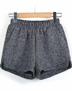 Grey Elastic Waist Tweed Shorts pictures