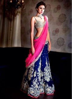 RETTY LOOK BLUE & PINK EMBROIDERED LEHENGA WITH DESIGNER BLOUSE