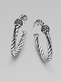 David Yurman - Diamond & Sterling Silver Hoop Earrings/1½