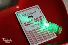 DIY Valentine, free printable and hot deal to order finger lights so your Valentine can light up the day!